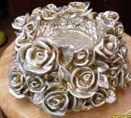 rose decoration old silver color