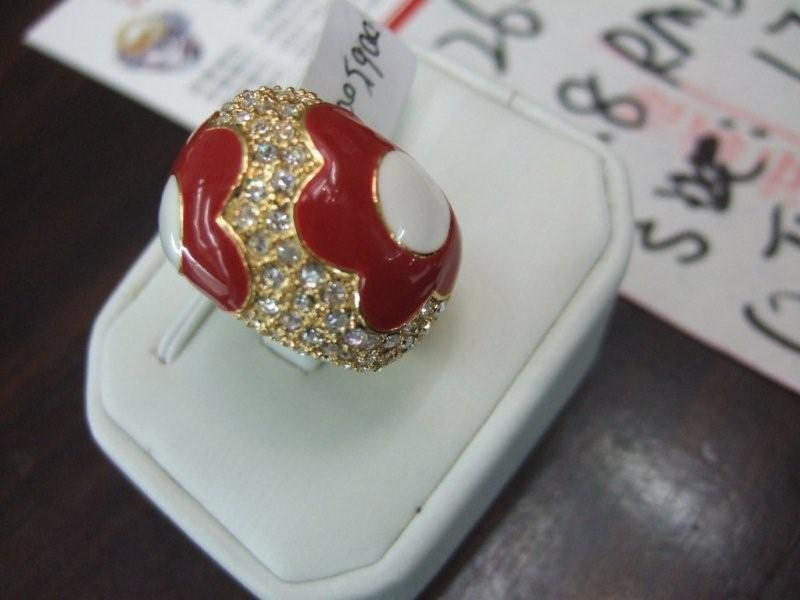 red flower rhinestone ring